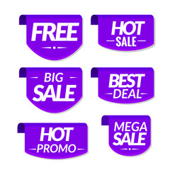 Sale tags labels. Special offer hot sale discount signs