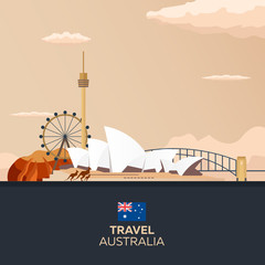 Australia. Tourism. Travelling illustration. Modern flat design. Sydney travel.
