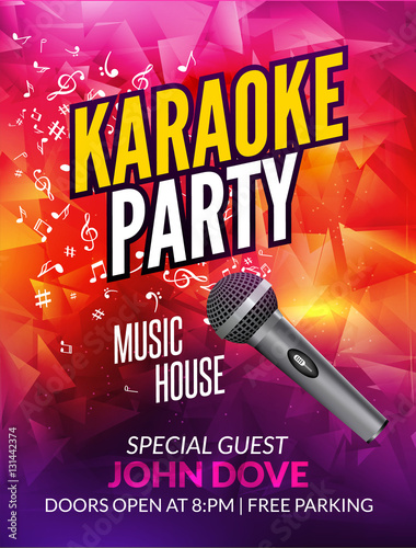 Karaoke Party Invitation Poster Design Template Karaoke Night Flyer