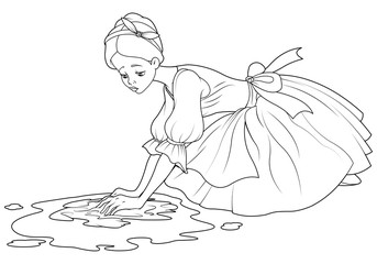 Canvas Prints Fairytale World Sad Cinderella Wash the Floor