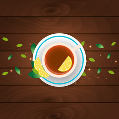Tea time. Cup of tea with lemon. Wooden background. Vector illustration.