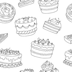 Cake dessert graphic black white seamless pattern illustration vector