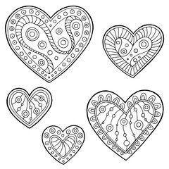 Pattern doodle black white heart graphic set illustration vector