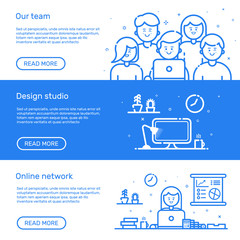 Vector illustration of set website banners with blue icon in flat line style. Linear cute and happy people teamwork. Design concept of our team, design studio, online network for website.