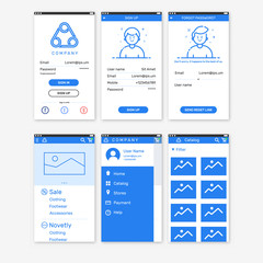 Vector Illustration of onboarding app screens for mobile apps and responsive website including Login, Sign Up, Forgot password, home, menu, catalog. Interface UX UI GUI screen template for smart phone