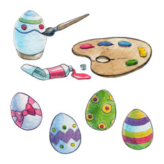 Easter eggs Painting Watercolor image