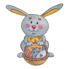 Easter rabbit with basket of eggs Watercolor image