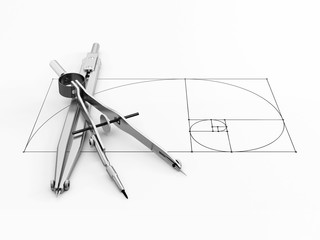 engineering compass on white background