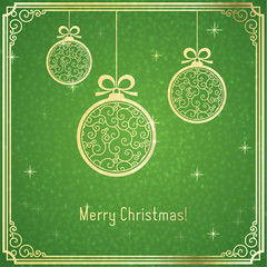Gold Christmas balls, with swirl pattern and shiny on green background.