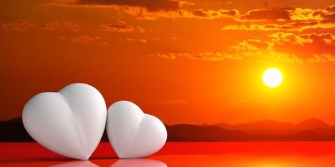 Hearts on sunset background. 3d illustration