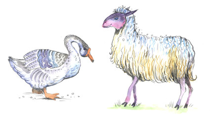 goose, sheep, watercolor, seamless pattern
