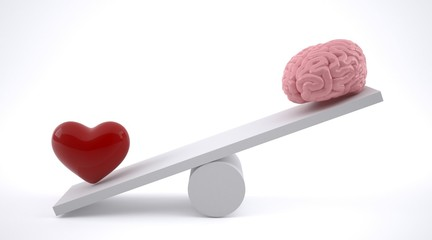 Brain and heart on a balance scale.