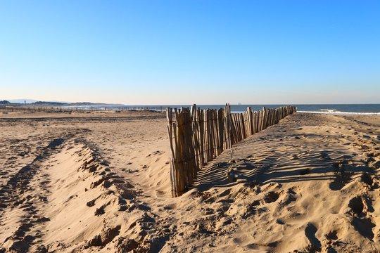 beach of Calais in winter , Blériot Plage , Pas de Calais, hauts de Seine , France