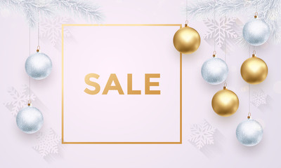 Christmas Sale poster of white snowflakes pattern and golden balls