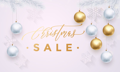 Christmas Sale gold banner white background with snowflakes, balls