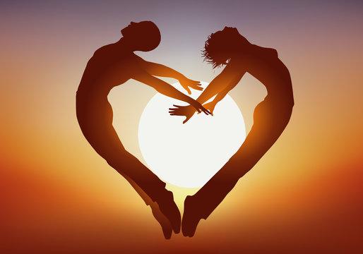 Couple - Amour - Saut - Coeur - Coucher de soleil