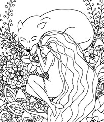 Vector illustration Zen Tangle girl and the wolf sleeping in the flowers. Doodle drawing. Meditative exercises. Coloring book anti stress for adults. Black and white.