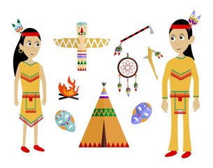 indians flat design