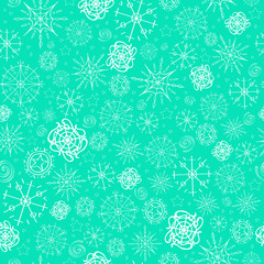 Illustration, vector pattern. image of snowflakes, winter. mint blue background for the Christmas cards, packaging, greetings.