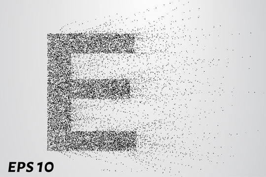 Letter E from the particles. The letter E consists of circles and points. Vector illustration