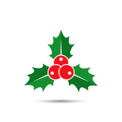 Christmas holly berries icon, vector. Simple mistletoe decorative red and green illustration.