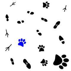 Vector illustration of a seamless pattern of traces of people, birds and wild animals, flat style