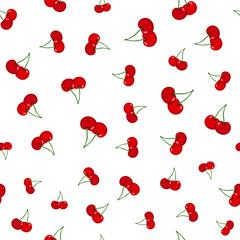 Cherry seamless pattern. Ripe, sweet, tasty berries. Juicy vegetetarian food