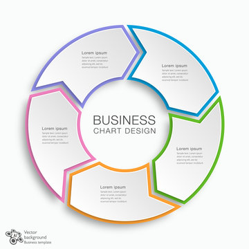 Business Chart Design 5-Step #Vector Graphic
