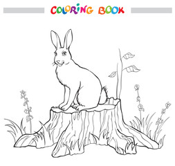 Coloring book with rabbit on the stump, flower and grass - vector illustration.