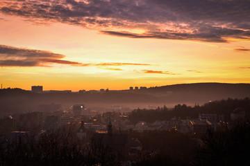 Foggy evening over Brno, Czech Republic, Europe. December 2016