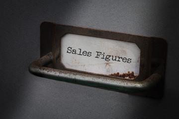 Old Filing Cabinet Label , Sales Figures