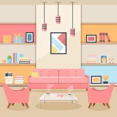 Living room with furniture. Cozy interior. Flat style vector