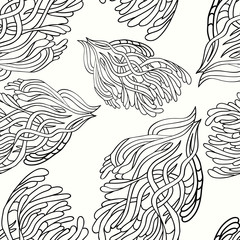 Seamless pattern with handdrawn doodle on a white background. Fo