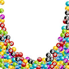 Bingo lottery balls numbers background. Lottery game balls. Lotto winner. Falling balls template