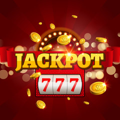 Jackpot 777 gambling poster design. Money coins winner casino success concept. Slot machine game prize
