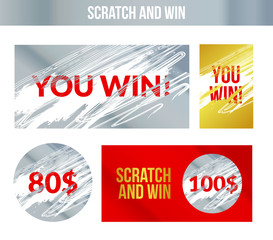 Scratch and win labels. Scratch marks effect. Winner concept lottery