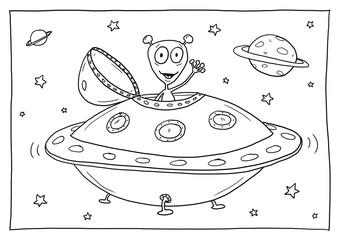 Ausmalbild Sternenhimmel - Cartoon-Bild