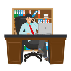 Businessman Working at Office Table. Flat Design Style. Vector illustration of Cartoon Big Boss with Workspace