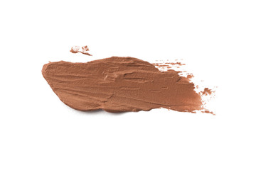 Smudged brown color lipstick on background
