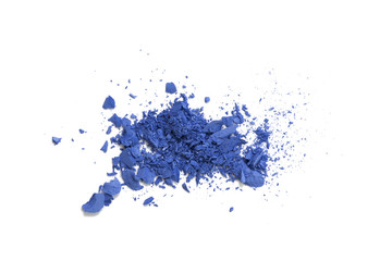 Blue color eye shadow powder cracked on background