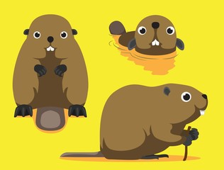 Cute Beaver Cartoon Vector Illustration