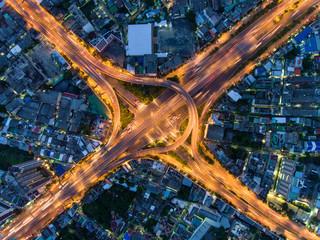 Aerial view of Arun Ammarin road and Rama VIII bridge, Bangkok, Thailand