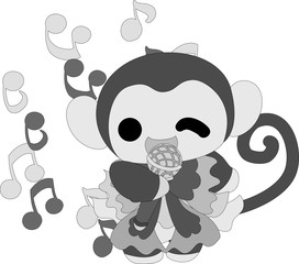 The handwritten style illustration of the pretty little monkey which does the figure of the singer