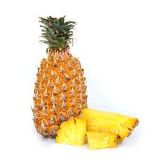 Ripe fruit pineapple on white background