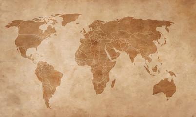 wereldkaart op een oud stuk papier