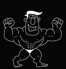 Monochrome outline cartoon strongman