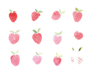 Abstract watercolor hand drawn beautiful strawberry
