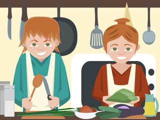 kids at kitchen cooking vegetables vector cartoon