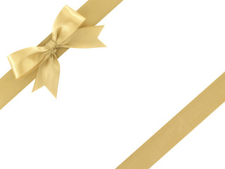 gold ribbon with bow isolated on white background, for decoration and add beauty to gift box