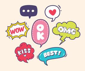 set of trendy comic speech bubble